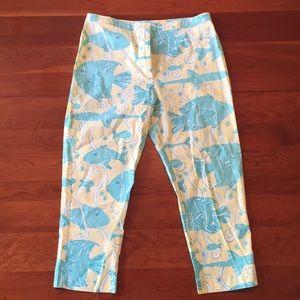 Lily Pulitzer Crop Pants Size 12 Fish Pattern